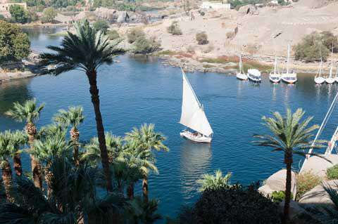 A felucca on the Nile river
